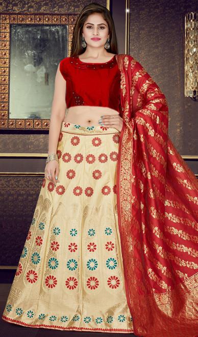 Lehenga Choli in Cream Color Embroidered Silk