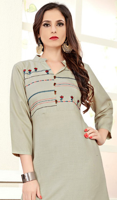 Gray Color Shaded Cotton Silk Tunic