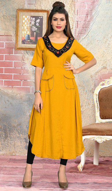 Yellow Color Shaded Rayon Linen Tunic