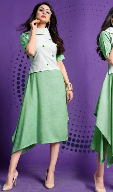 Green Color Shaded Cotton Tunic