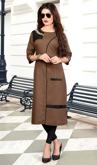 Tunic in Brown Color Shaded Silk