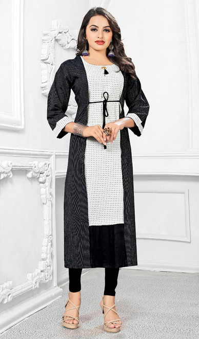 Black and White Color Shaded Cotton Tunic