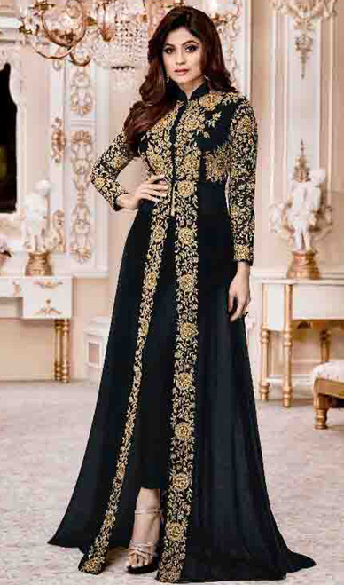Shamita Shetty Black Color Embroidered Georgette Suit