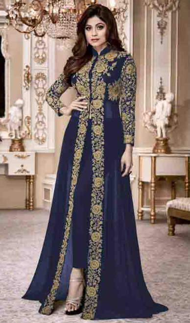 Shamita Shetty Navy Blue Color Shaded Georgette Dress