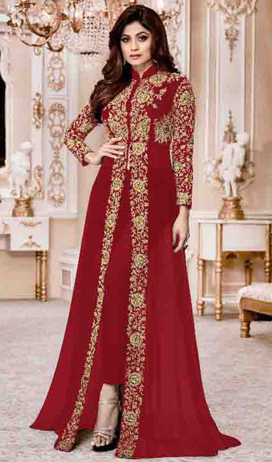 Shamita Shetty Red Color Embroidered Georgette Suit