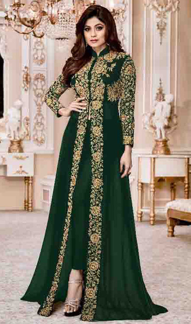 Shamita Shetty Green Color Georgette Embroidered Dress