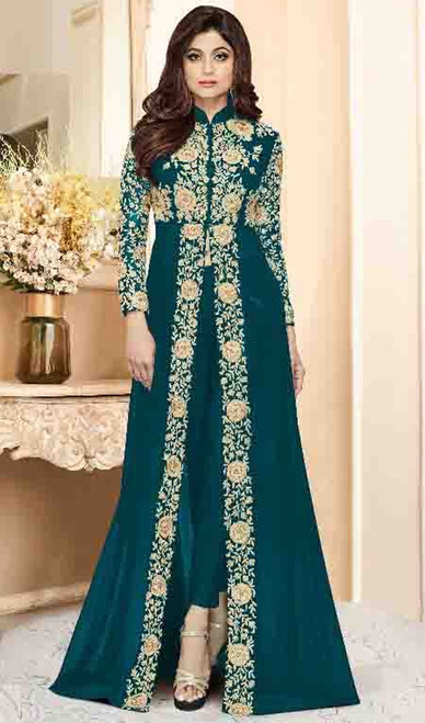 Shamita Shetty Teal Green Color Shaded Georgette Suit