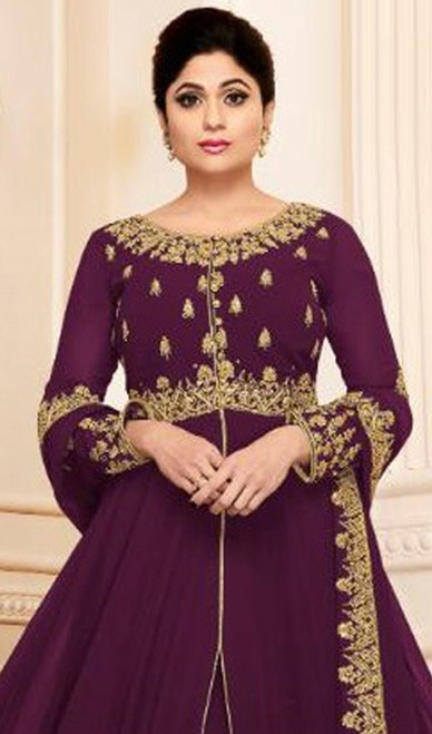 Shamita Shetty Magenta Color Shaded Georgette Anarkali Dress
