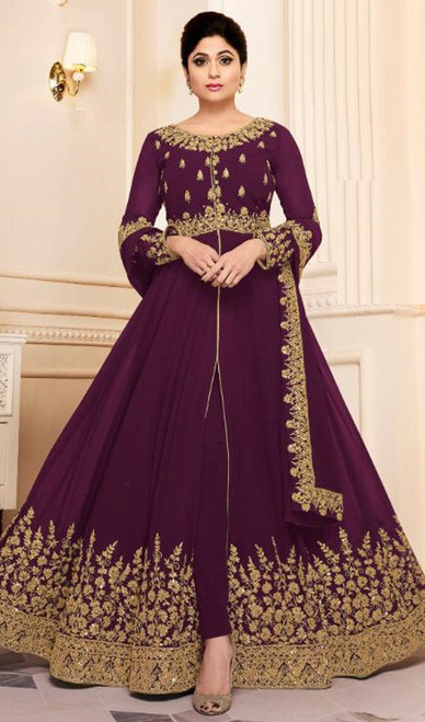 Shamita Shetty Magenta Color Shaded Georgette Anarkali Dress