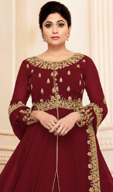 Shamita Shetty Maroon Color Georgette Resham Anarkali Suit