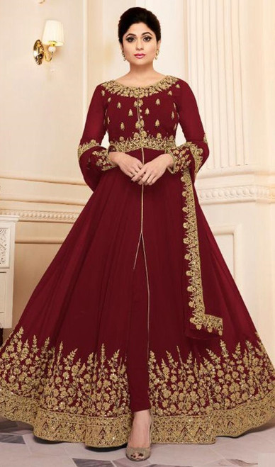 Shamita Shetty Maroon Color Georgette Resham Anarkali Suit