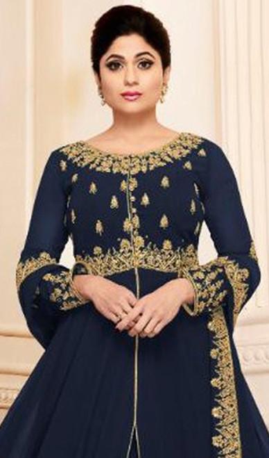Navy Blue  Shamita Shetty Color Georgette Anarkali Suit