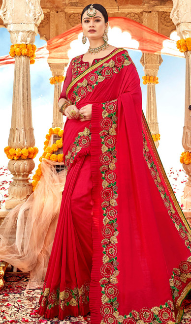 Embroidered Red Color Resham Georgette Sari