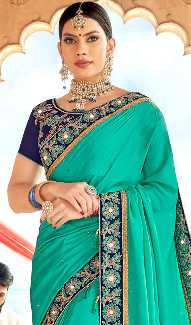 Embroidered Sea Green Color Georgette Sari