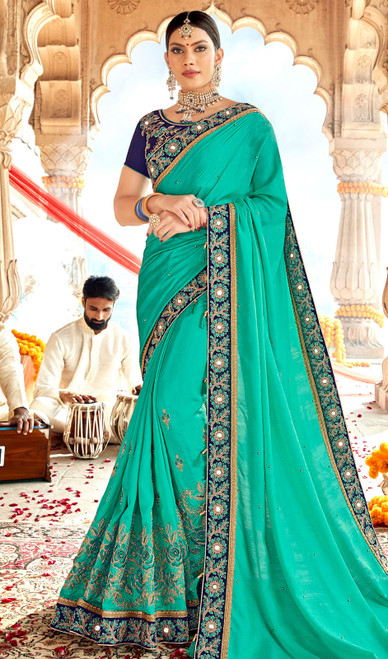 Embroidered Sea Green Color Georgette Sari