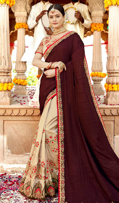 Chocolate and Cream Color Georgette Half N Half Sari