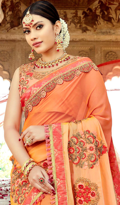 Orange Color Shaded Embroidered Georgette Sari