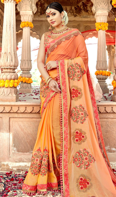 Orange Color Shaded Embroidered Georgette Sari