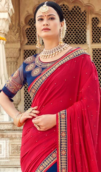 Red and Blue Color Georgette Half N Half Sari