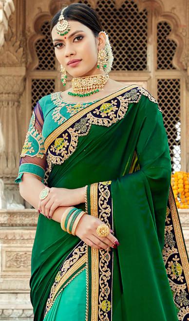 Green and Aqua Green Color Georgette Half N Half Sari