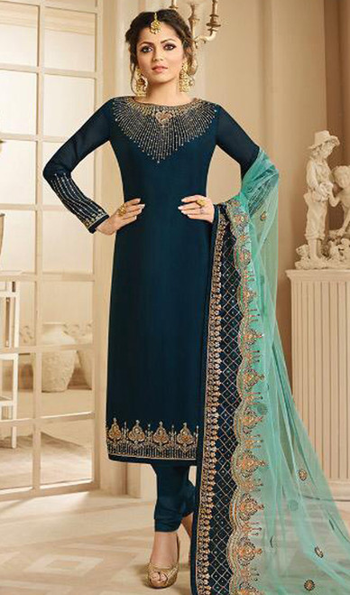 Drashti Dhami Navy Blue Color Embroidered Suit