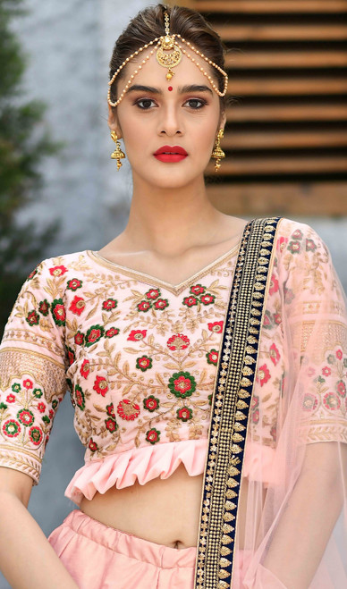 Embroidered Resham Silk Peach Color Lehenga Choli