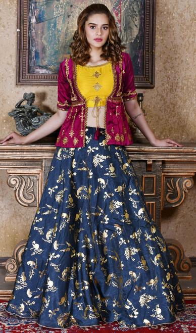 Navy Blue Color Shaded Silk Choli Skirt
