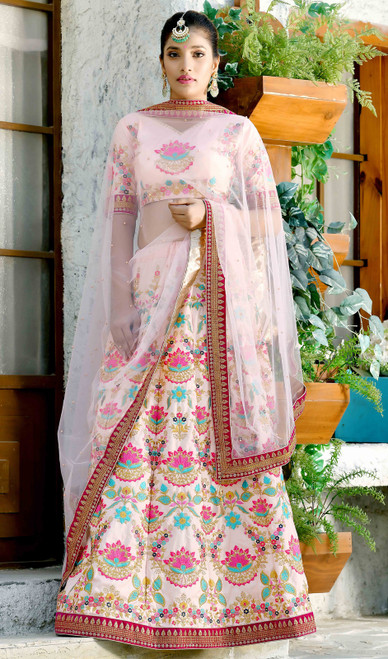 Pink Color Shaded Embroidered Lahenga Choli