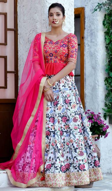 Multicolor Shaded Silk Lahenga Cholie