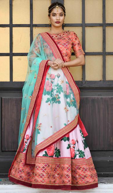 Lehenga Choli in Pink Color Shaded Silk
