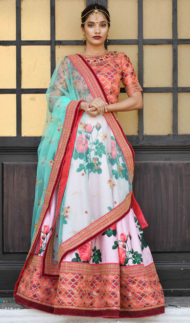 Lehenga Choli in Pink Color Shaded Silk