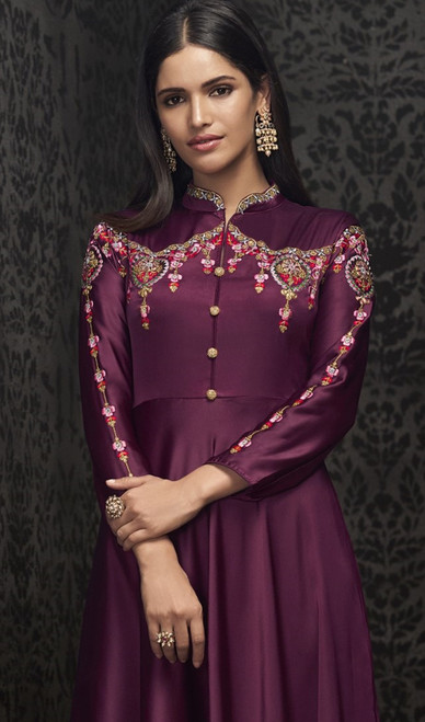 Purple Color Embroidered Silk Gown