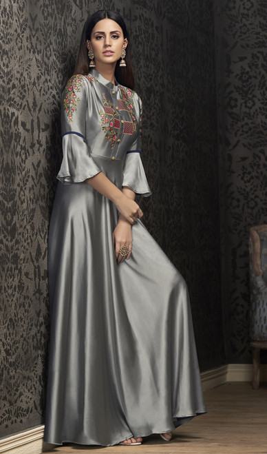 Gray Color Silk Embroidered Gown