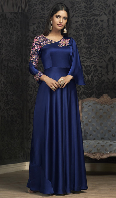 Blue Color Embroidered Silk Gown