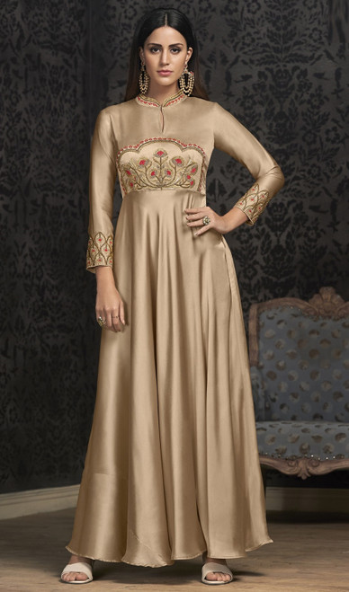 Beige Color Silk Embroidered Gown