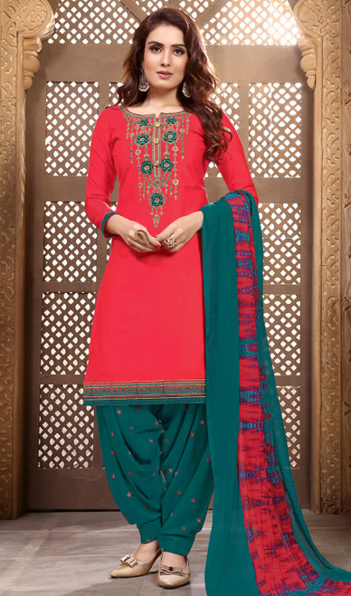Red Color Embroidered Cotton Satin Patiala Suit