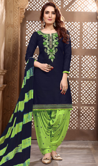 Navy Blue Color Shaded Cotton Satin Patiala Dress