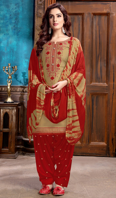 Beige Color Embroidered Cotton Satin Punjabi Suit