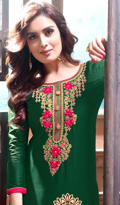 Green Color Shaded Cotton Satin Punjabi Dress