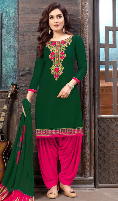 Green Color Shaded Cotton Satin Punjabi Dress