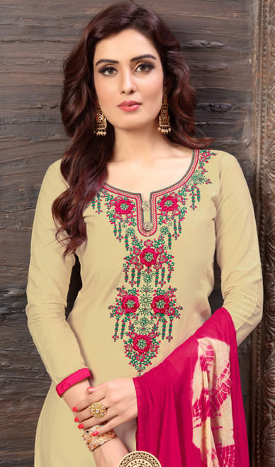 Beige Color Cotton Satin Embroidered Patiala Suit