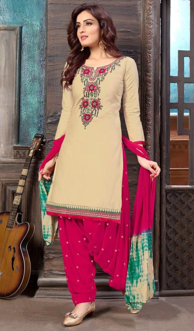 Beige Color Cotton Satin Embroidered Patiala Suit