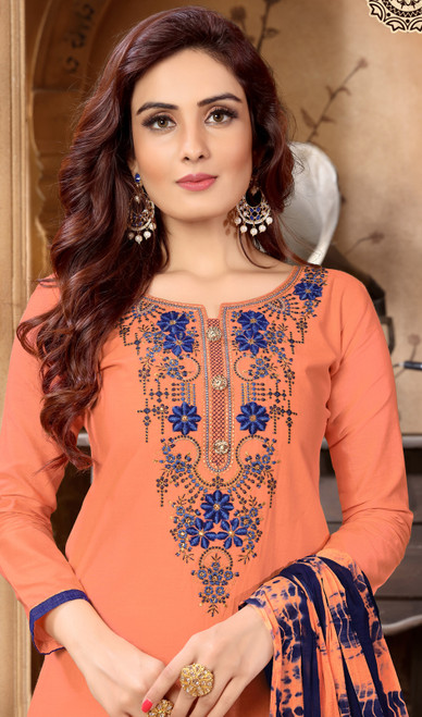 Peach Color Embroidered Cotton Satin Punjabi Suit