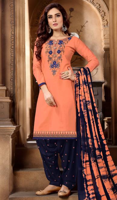 Peach Color Embroidered Cotton Satin Punjabi Suit