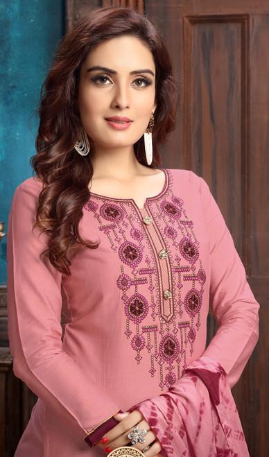 Pink Color Cotton Satin Embroidered Punjabi Dress