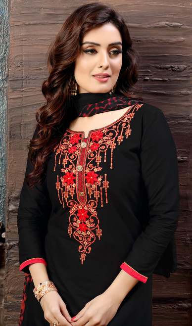 Patiala Suit in Black Color Embroidered Cotton Satin