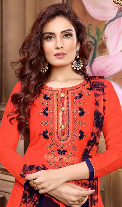 Punjabi Suit, Cotton Satin Fabric in Orange Color Shaded