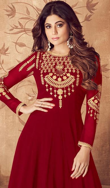 Embroidered Red Color Georgette Anarkali Dress