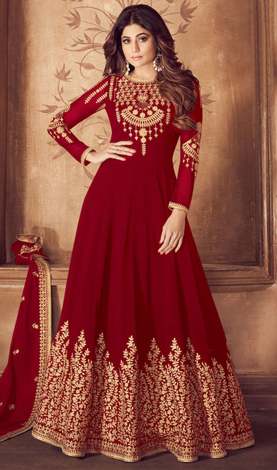 Embroidered Red Color Georgette Anarkali Dress