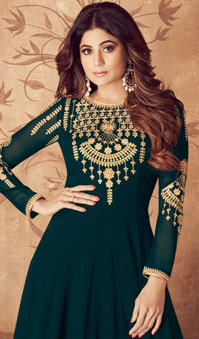 Georgette Green Color Embroidered Anarkali Suit